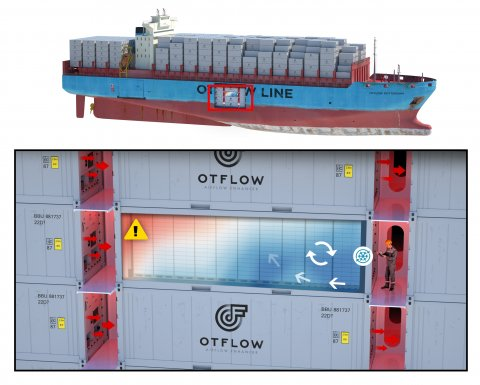 Containers and reefers below deck of a container ship